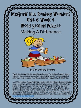 5th Grade Reading Wonders Word Search Activity Unit 6 Week 4