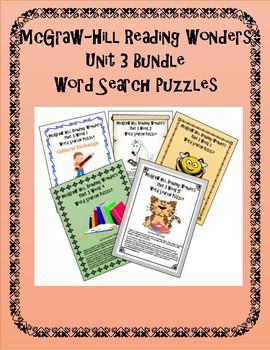 5th Grade Reading Word Search Activity Unit 3 BUNDLE Weeks 1-5
