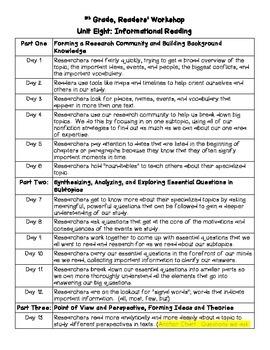 5th Grade Reading Workshop Unit 8:  Informational Reading