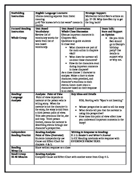 5th Grade ReadyGen ELA lesson plan Unit 1 Module A Lesson 3