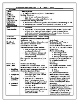 5th Grade ReadyGen ELA lesson plan Unit 1 Module A Lesson 3