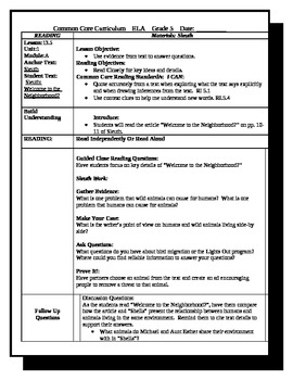 5th Grade ReadyGen Lesson Plan ELA Unit 1 Module A Lesson