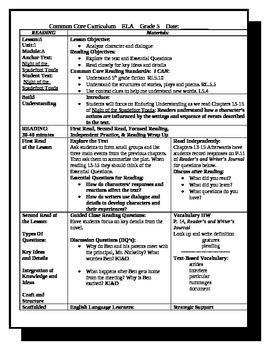 5th Grade ReadyGen Lesson Plan ELA Unit 1 Module A Lesson 8