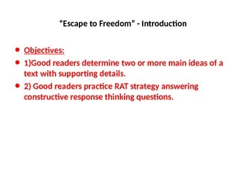 5th Grade Readygen Unit 2 Power Point and Lesson Plans -  Escape to Freedom