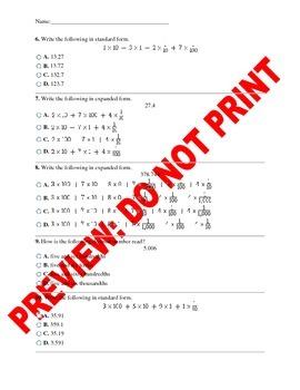 5th Grade Representations of Decimals