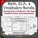 5th Grade No Prep Math, ELA, Vocabulary Bundle