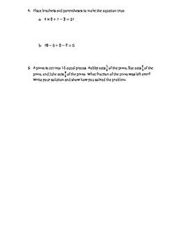 5th Grade Review Worksheets (Fractions, Order of Op, Estimating, Perimeter)