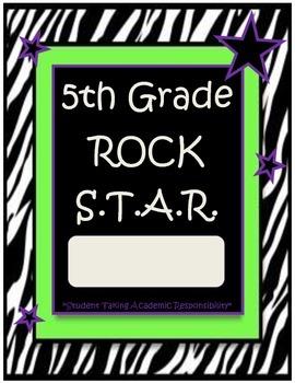 5th Grade Rock Star Binder-Folder Covers with Zebra Print Rockstar