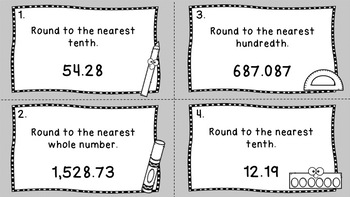 5th Grade Round Decimals Task Cards