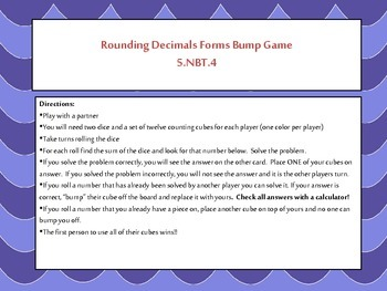 5th Grade Rounding Decimals Bump Math Game {5.NBT.4} Common Core Aligned