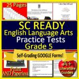 5th Grade SC READY Test Prep ELA Printable AND Self-Grading Google Form Quizzes!