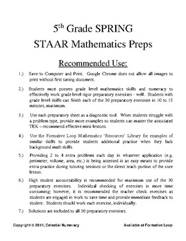 5th Grade STAAR Math Preps - 30 Exercises - Updated 2017 - (FREE)