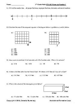 5th Grade STAAR Mathematics Warm-ups - 30 - Updated 2017 - (FREE)