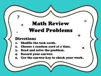 NEW  5th Gr Math Review Word Problems (set of 28 aligned to TEKS & Common Core)