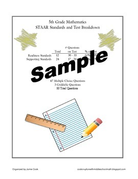 5th Grade STAAR Math TEKS Checklist (NEW and old TEKS bundled)