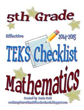 5th Grade STAAR Math TEKS Checklist (with new TEKS effecti