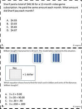 5th Grade STAAR Money Questions
