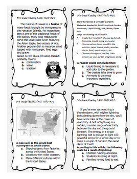 5th Grade STAAR Reading Skills Task Cards, 36 Nonfiction Passages!