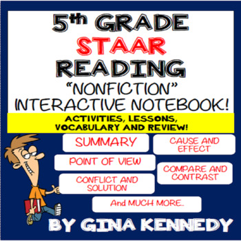 5th Grade STAAR Reading Interactive Notebook! Passages, Ac