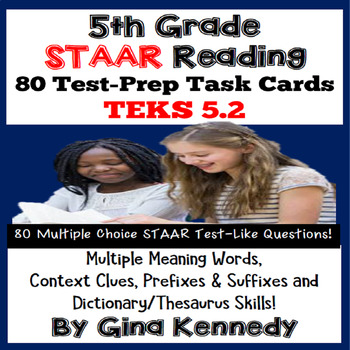5th Grade STAAR Reading Multiple Meaning, Context Clues Test-Prep Task Cards