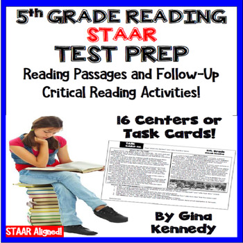 5th Grade STAAR Reading Test-Prep Passages, Critical Thinking Task Cards!