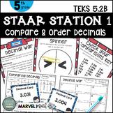 5th Grade STAAR STATION 1: DECIMAL WAR TEKS 5.2B Math Center