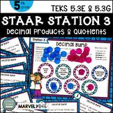 5th Grade STAAR STATION 3: DECIMAL BUMP  TEKS 5.3E, 5.3G Math Center