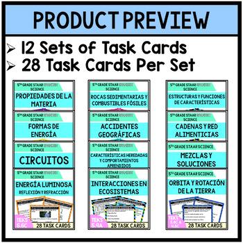 5th Grade STAAR SPANISH Science Bundle Task Cards