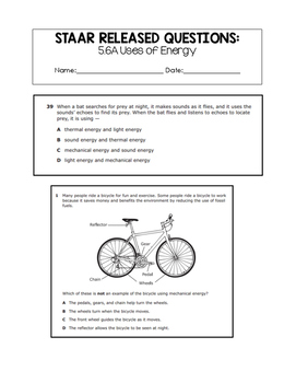 5th Grade STAAR Science Released Questions: Uses of Energy