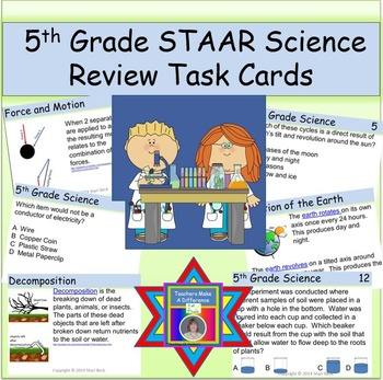 5th Grade STAAR Science Review Task Cards