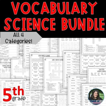 5th Grade STAAR Science Vocabulary Review Bundle