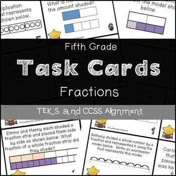 5th Grade STAAR TASK CARDS {Fraction Models & Operations} TEKS 5.3HIJL