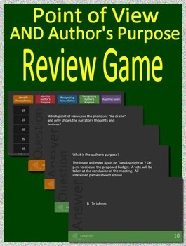 5th Grade STAAR Test Prep - Point of View and Author's Purpose Game + Activities