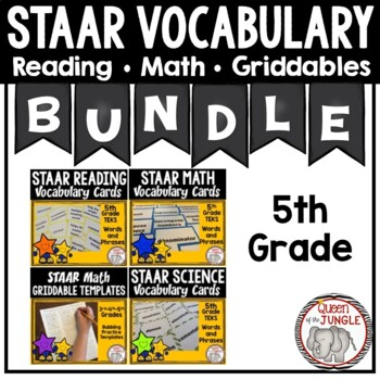 5th Grade STAAR Vocabulary Bundle - Reading, Math and Science