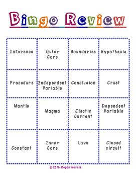 5th Grade Science BINGO Review (VA SOL aligned)