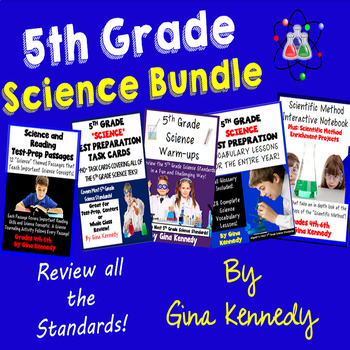 5th Grade Science Bundle, Test-Prep, Task Cards, Vocabulary and More...