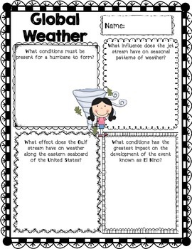 5th Grade Science Concept Posters 5.E.1 Seasons Weather Instruments Global