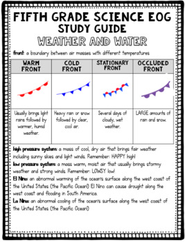 5th Grade Science EOG Study Guide