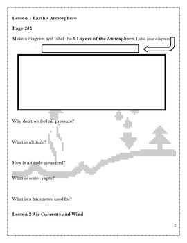 5th Grade Science Earth's Atmosphere Ch 5 Student Notebook