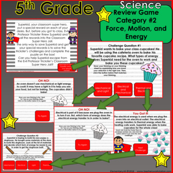 5th Grade Science Escape Challenge: Category 2 Force, Motion, and Energy (TEKS)