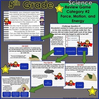 5th Grade Science Escape Challenge: Category 3 Earth and Space (TEKS)