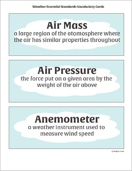 5th Grade Science Essential Standards Vocabulary Cards All Units