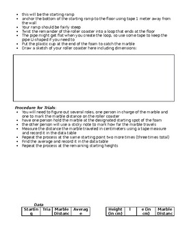 5th Grade Science Fair Example Experiment - Roller Coasters - Answer Key