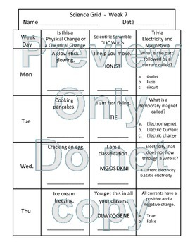 5th Grade Physical Science Grids - 2nd  Quarter Homework Pack Standards Based