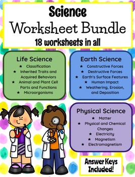 5th Grade Science Homework Sheet Bundle  **EDITABLE**