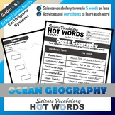 5th Grade Science Hot Words: Ocean Geography Vocabulary and Activities!