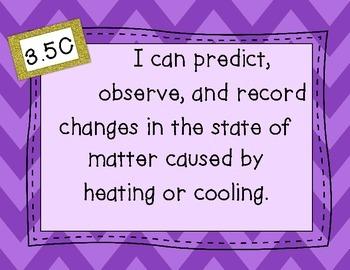 "5th Grade Science TEKS Objectives ""I Can"" Statements, Purple Chevron"