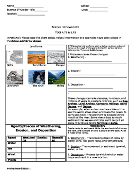 5th Grade Science Landform Homework TEKS 4.7B & 5.7B