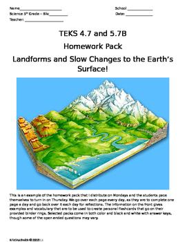 5th Grade Science Landform Homework TEKS 4.7B & 5.7B