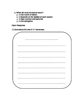5th Grade Science Reading Comprehension Packet Multiple Choice + Open Response
